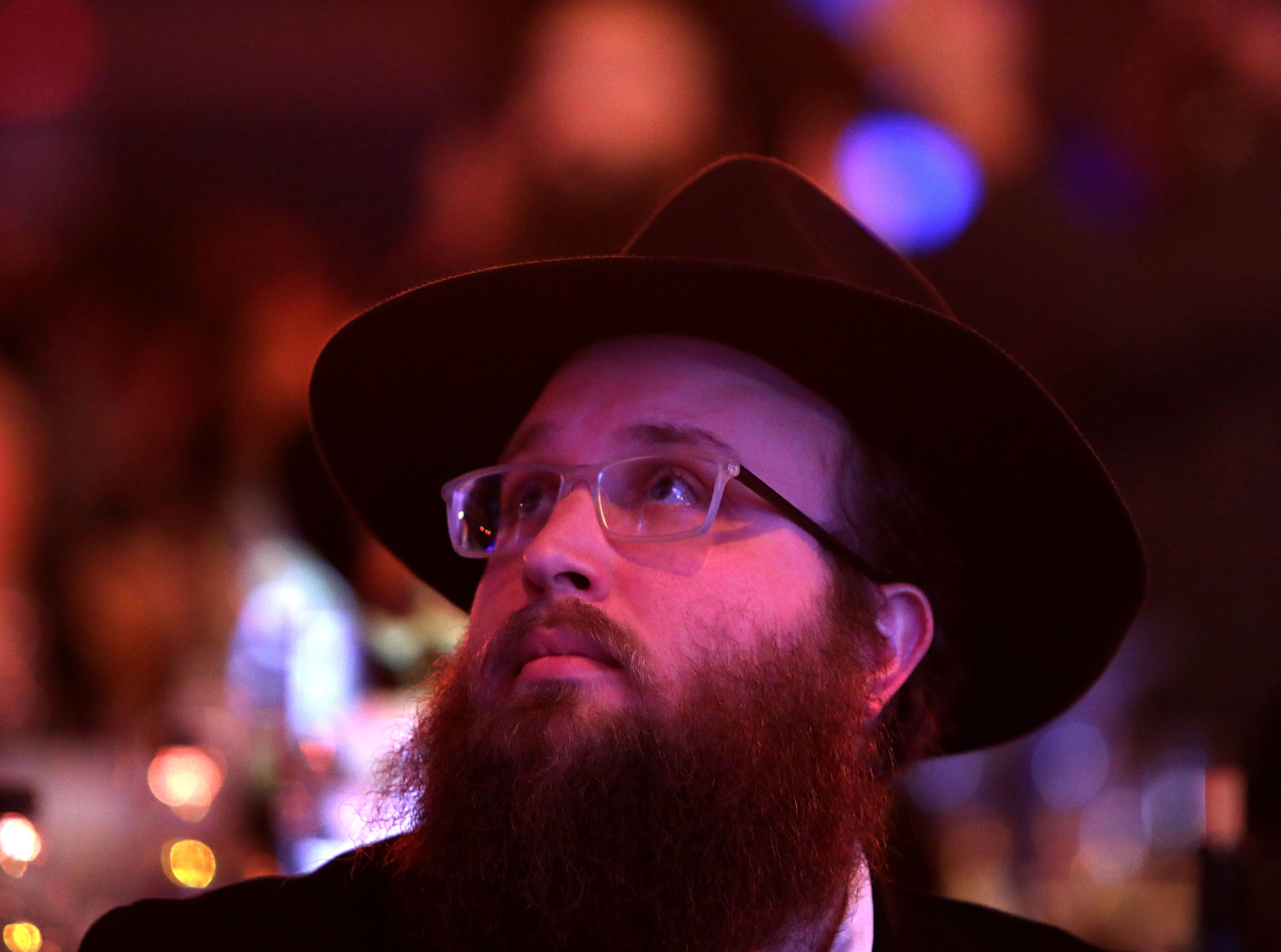 Rabbi Mendy Schapiro of Monroeville, Pennsylvania attends a gala at Rockland Community College Nov. 4, 1018 in Suffern. About 5,600 rabbis and their colleagues from 100 countries gathered in New York for an International Conference of Chabad-Lubavitch Emissaries.