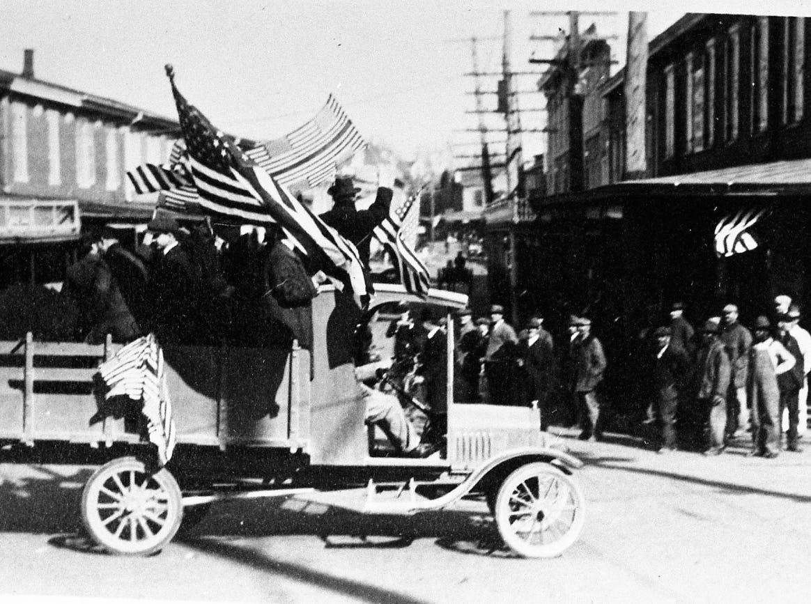 The Milton Armistice Day parade in 1918.
