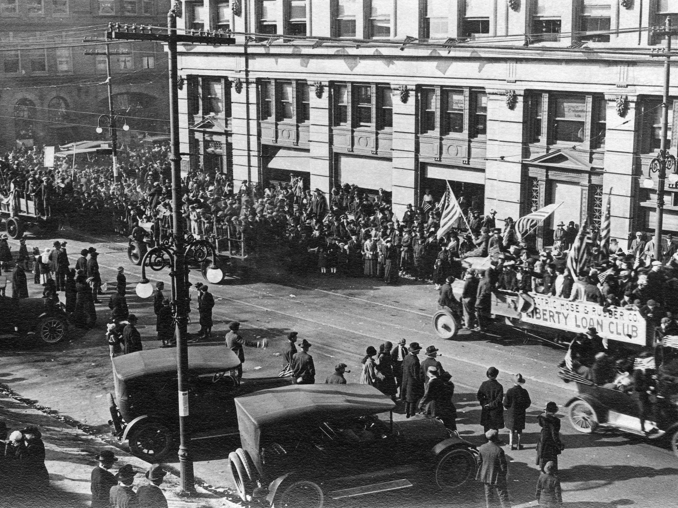 The Liberty Lion Club was one of many groups to march or roll in the Wilmington Peace Day parade after  Armistice Day in 1918.