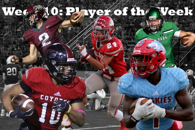 Week 10 Player of the Week nominees are Hirschi's Daimarqua Foster, Vernon's B.T. White, Iowa Park's Trent Green, Wichita Falls High School's Isaiah Cherry and Holliday's Tristin Boyd.