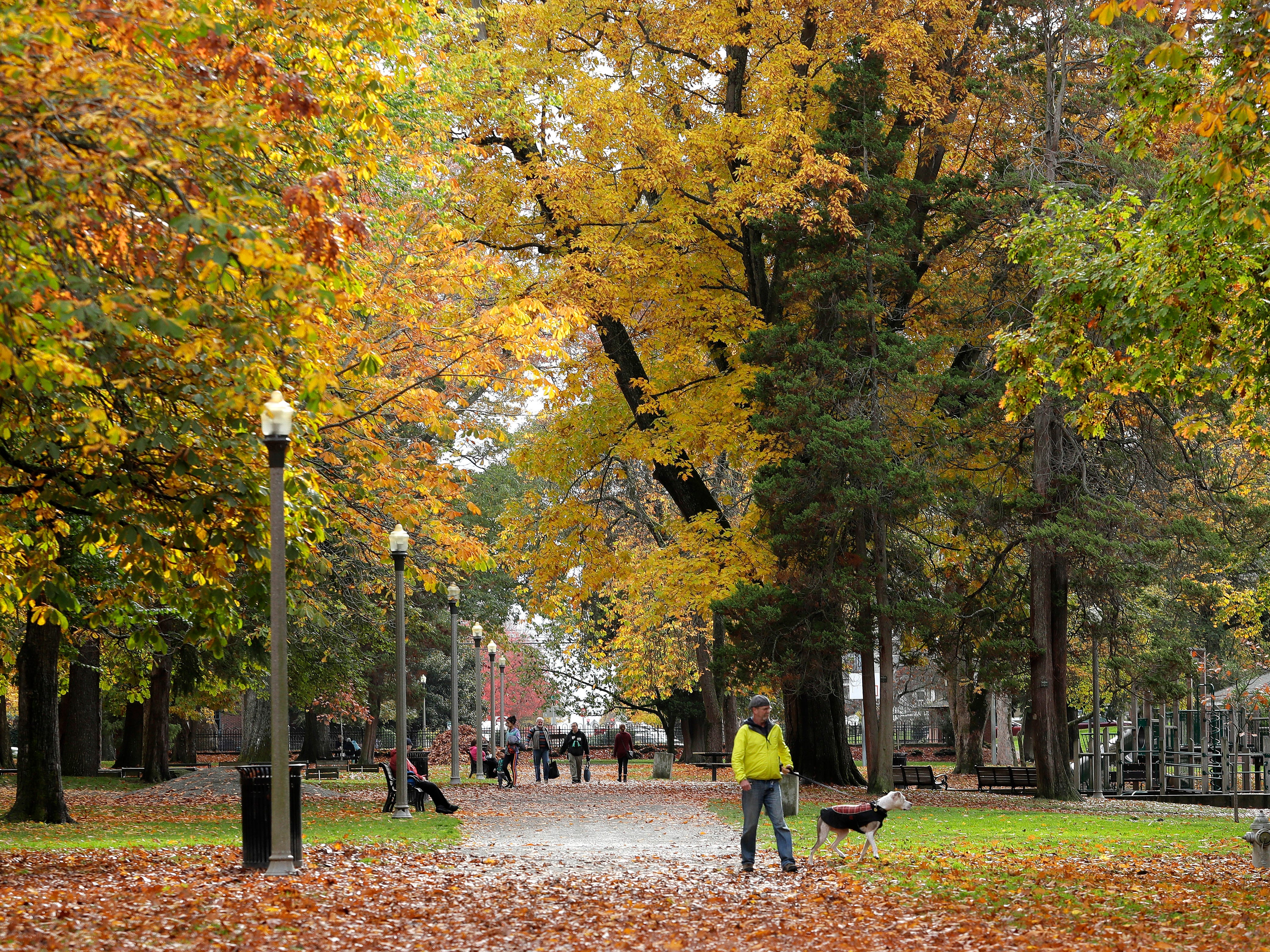 Pedestrians walk along a leaf-covered walkway as they enjoy the fall colors at Wright Park in Tacoma, Wash., Friday, Oct. 26, 2018.
