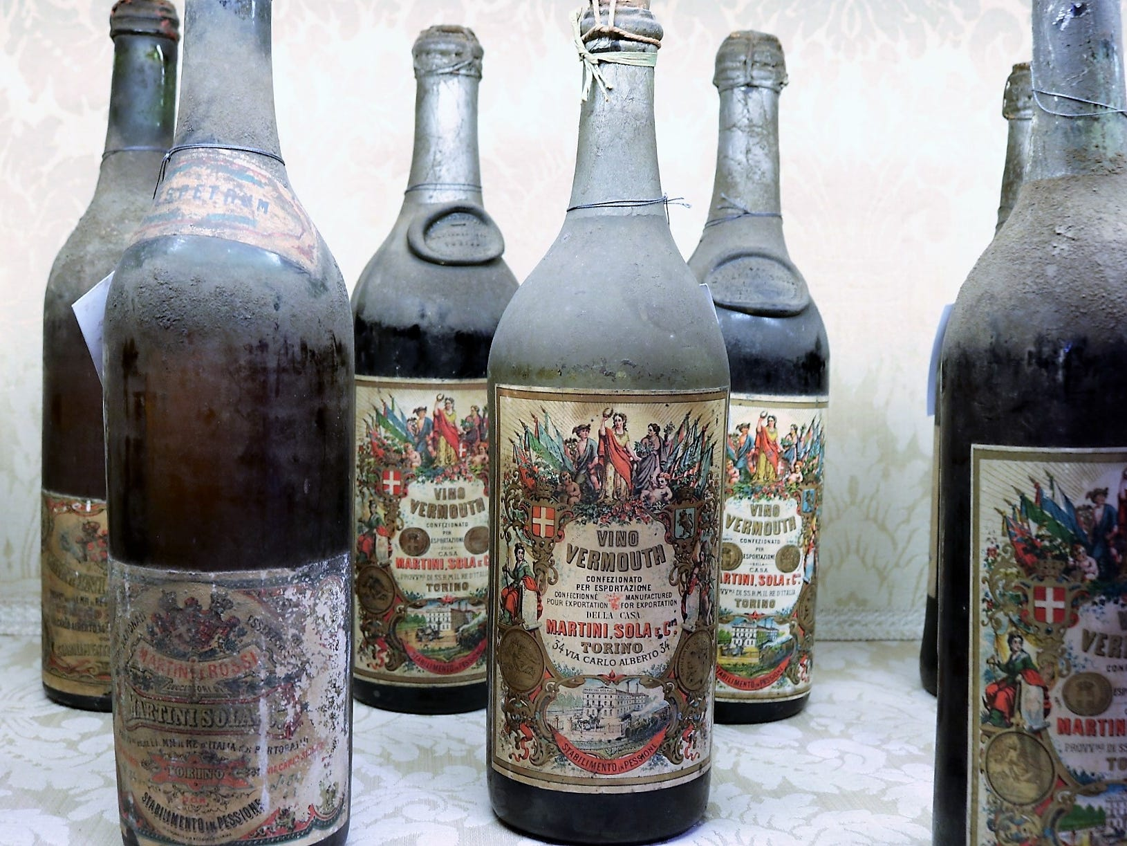 """""""Dusty bottles"""" isn't just a phrase in this case, with intact bottles dating to the 1860s when the company was still known as Martini, Sola & Co."""
