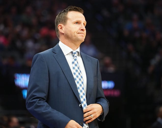Washington Wizards head coach Scott Brooks along the sideline against the Sacramento Kings during the first quarter at Golden 1 Center.