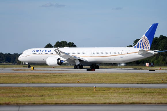 This photo provide by United Airlines shows the company's first Boeing 787-10 Dreamliner. United already had the 787-8 and 787-9 variants in its fleet.