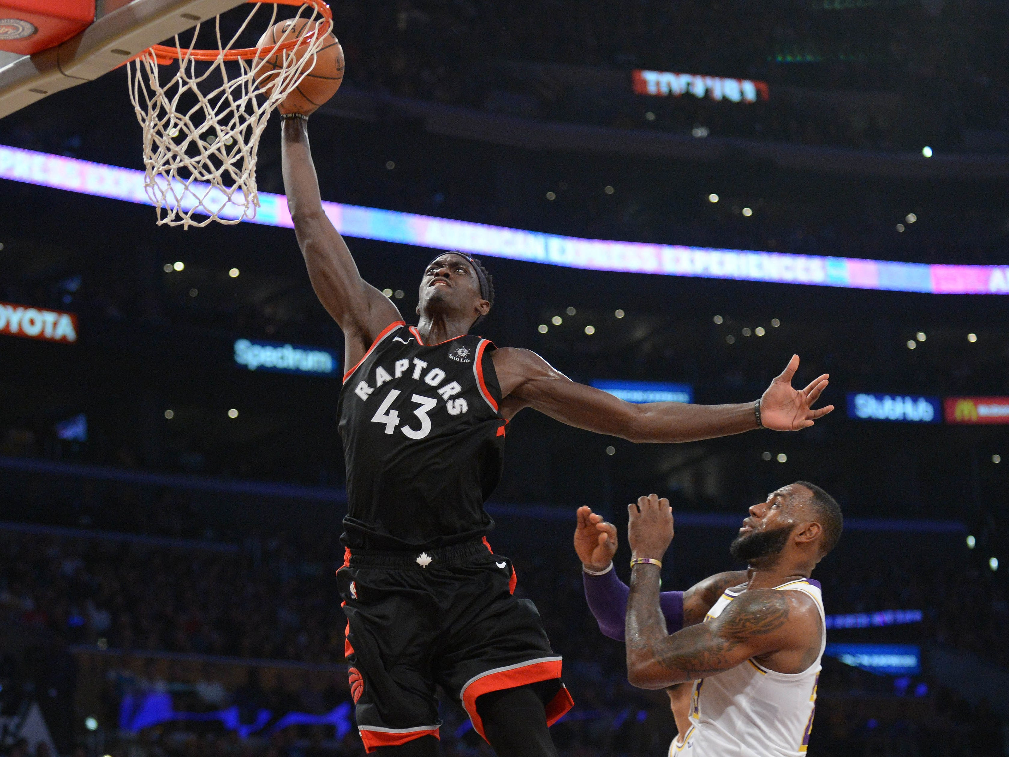 Nov. 4: Raptors forward Pascal Siakam throws down a one-handed flush on the break during the first half against the Lakers in Los Angeles.