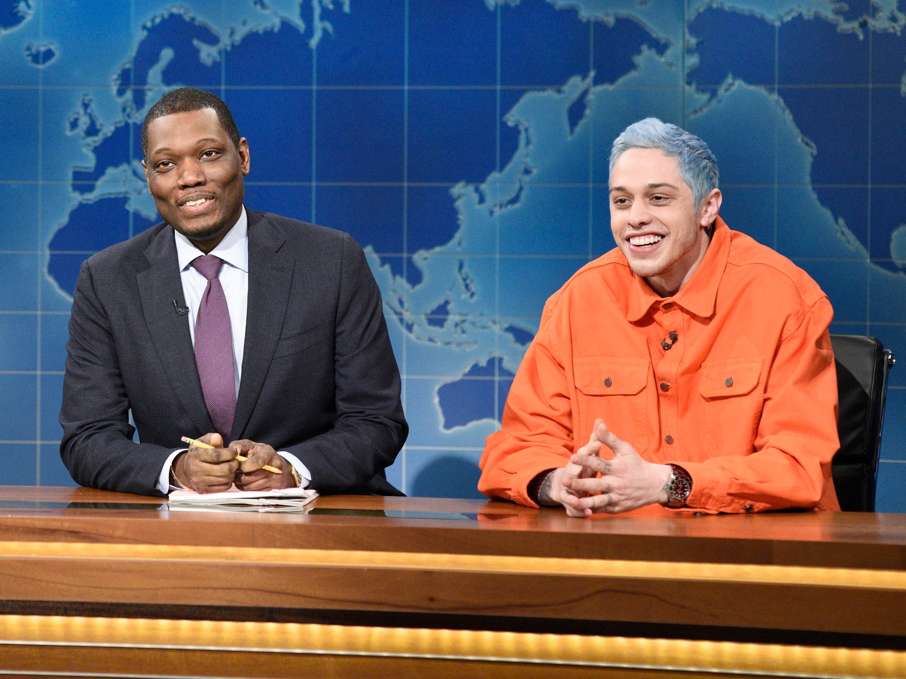 """Saturday Night Live"" returned with a new episode Nov. 3, just in time for Pete Davidson (seen here with ""Weekend Update"" co-host Michael Che) to take aim at what he dubbed ""gross"" candidates before Election Day. That included Republican Dan Crenshaw of Texas. ""You may be surprised to hear he's a congressional candidate in Texas and not a hitman in a porno movie,"" Davidson said of Crenshaw, who wears an eye patch due to an injury he suffered fighting in Afghanistan. The Republican later tweeted, ""Good rule in life: I try hard not to offend; I try harder not to be offended. That being said, I hope @nbcsnl recognizes that vets don't deserve to see their wounds used as punchlines for bad jokes."""