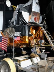 A replica of the lunar excursion module, designed for operations on the moon, sits in the U.S. Space and Rocket Center in Huntsville, Alabama, on Oct. 25, 2018.