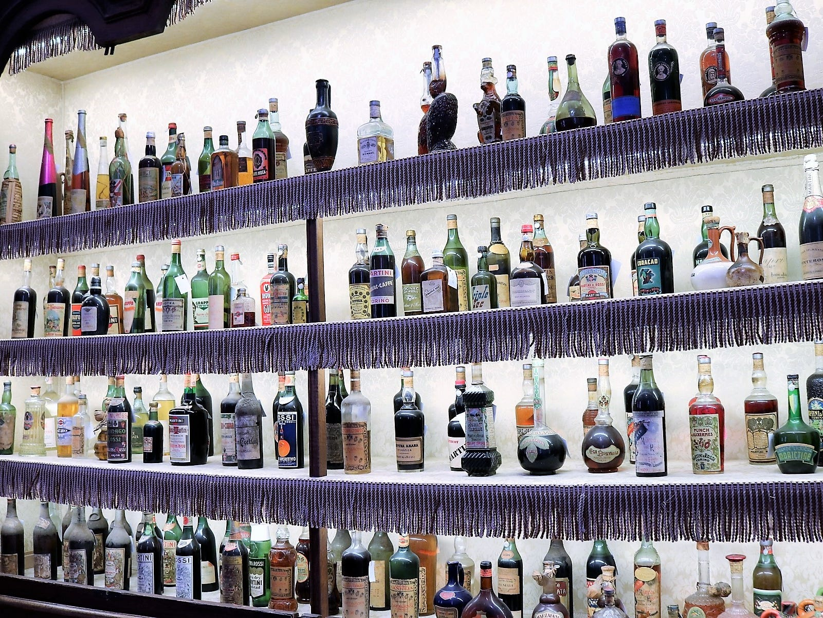 The pièce de résistance at Casa Martini may be this massive cabinet showcasing an assortment of vintage bottles and products dating all the way back to the company's founding.