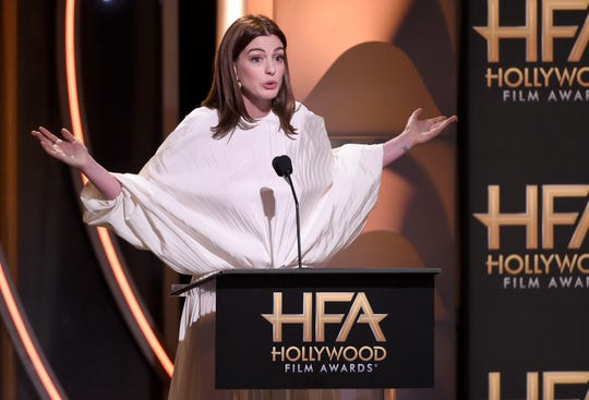 Anne Hathaway even mocked her own outfit during her speech at the Hollywood Film Awards.