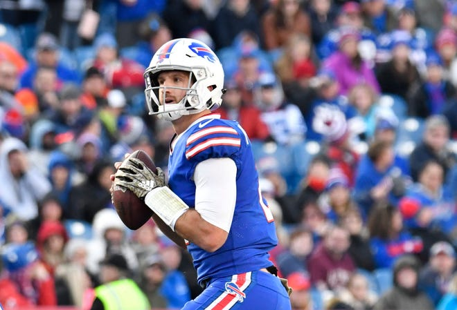 Buffalo Bills quarterback Nathan Peterman (2) drops back to pass during the third quarter against the Chicago Bears at New Era Field.