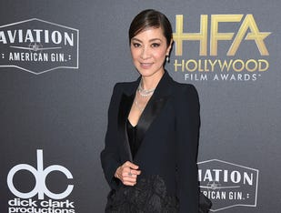Michelle Yeoh arrives at the Hollywood Film Awards on Sunday, Nov. 4, 2018, at the Beverly Hilton Hotel in Beverly Hills, Calif. (Photo by Jordan Strauss/Invision/AP) ORG XMIT: CAPM128