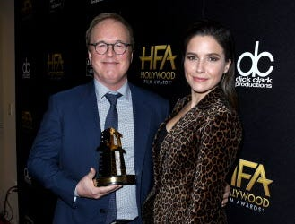 BEVERLY HILLS, CA - NOVEMBER 04:  Brad Bird (L), recipient of the Hollywood Animation Award for 'Incredibles 2,' and Sophia Bush pose in the press room during the 22nd Annual Hollywood Film Awards at The Beverly Hilton Hotel on November 4, 2018 in Beverly Hills, California.  (Photo by Steve Granitz/WireImage) ORG XMIT: 775237955 ORIG FILE ID: 1057422108