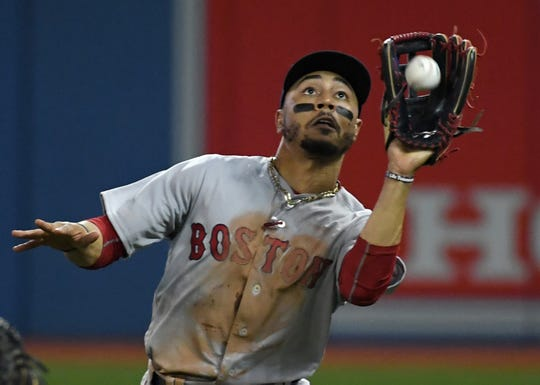 Mookie Betts has won a gold glove for his fielding in each of his last three seasons.