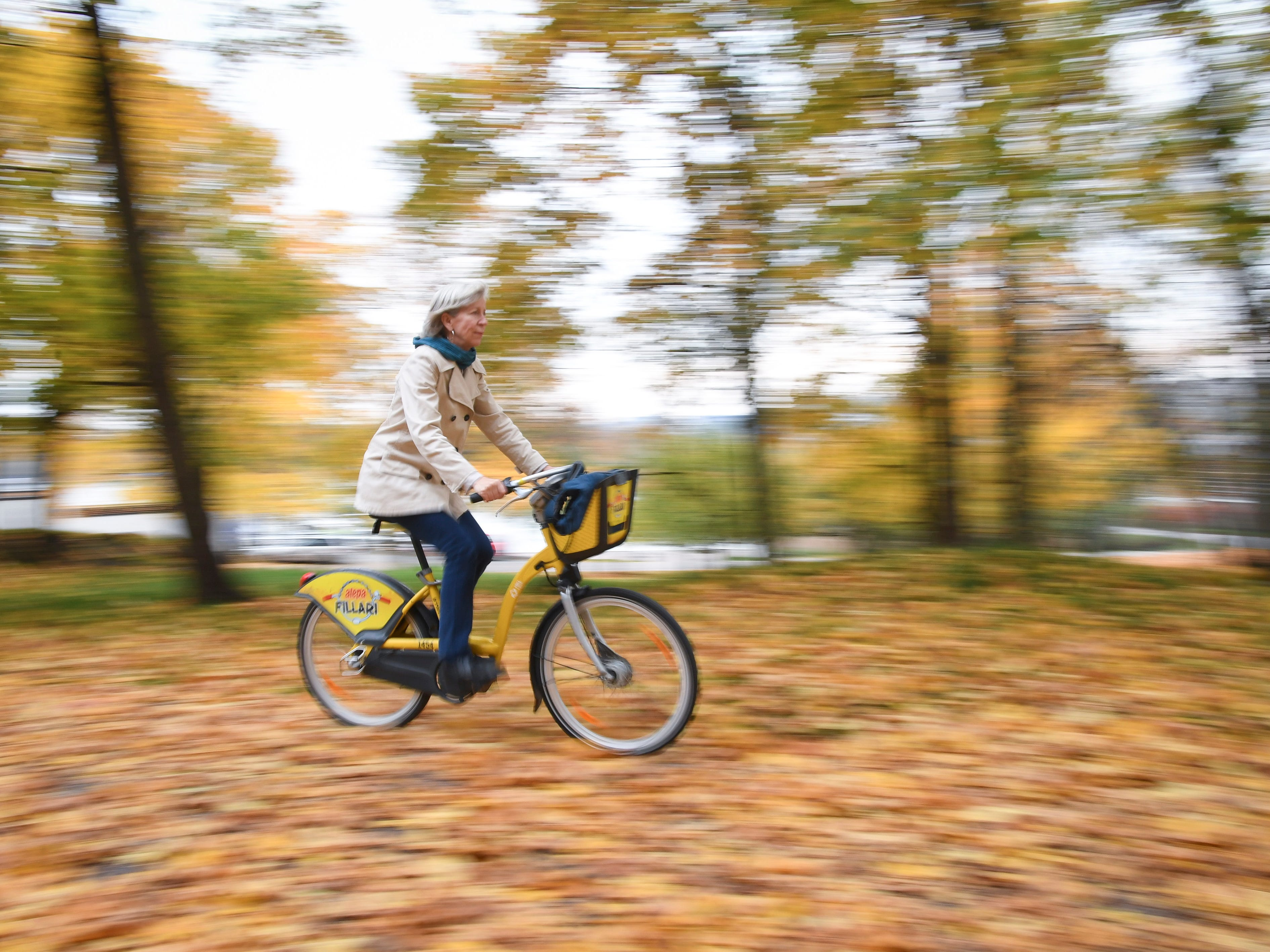 A woman rides her bicycle on a path covered with autumnal colored leaves in a local park in Helsinki, Finland, Oct. 16, 2018.
