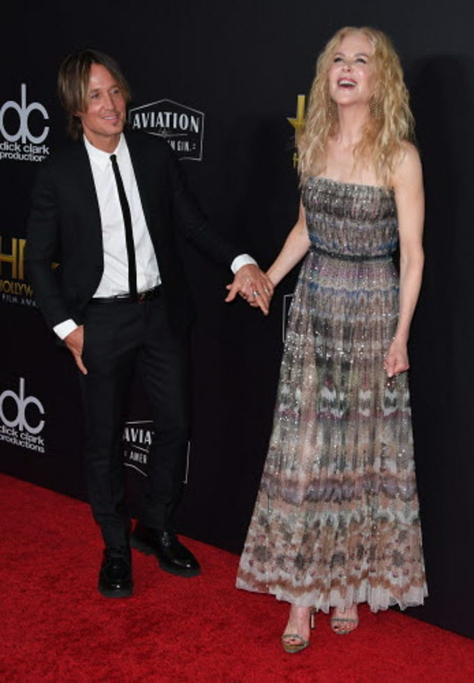 Hollywood Career Achievment Award recipient actress Nicole Kidman and husband musician Keith Urban arrive for the 22nd Annual Hollywood Film Awards at the Beverly Hilton hotel in Beverly Hills on November 4, 2018. (Photo by Mark RALSTON / AFP)MARK RALSTON/AFP/Getty Images ORG XMIT: 22nd Annu ORIG FILE ID: AFP_1AK825