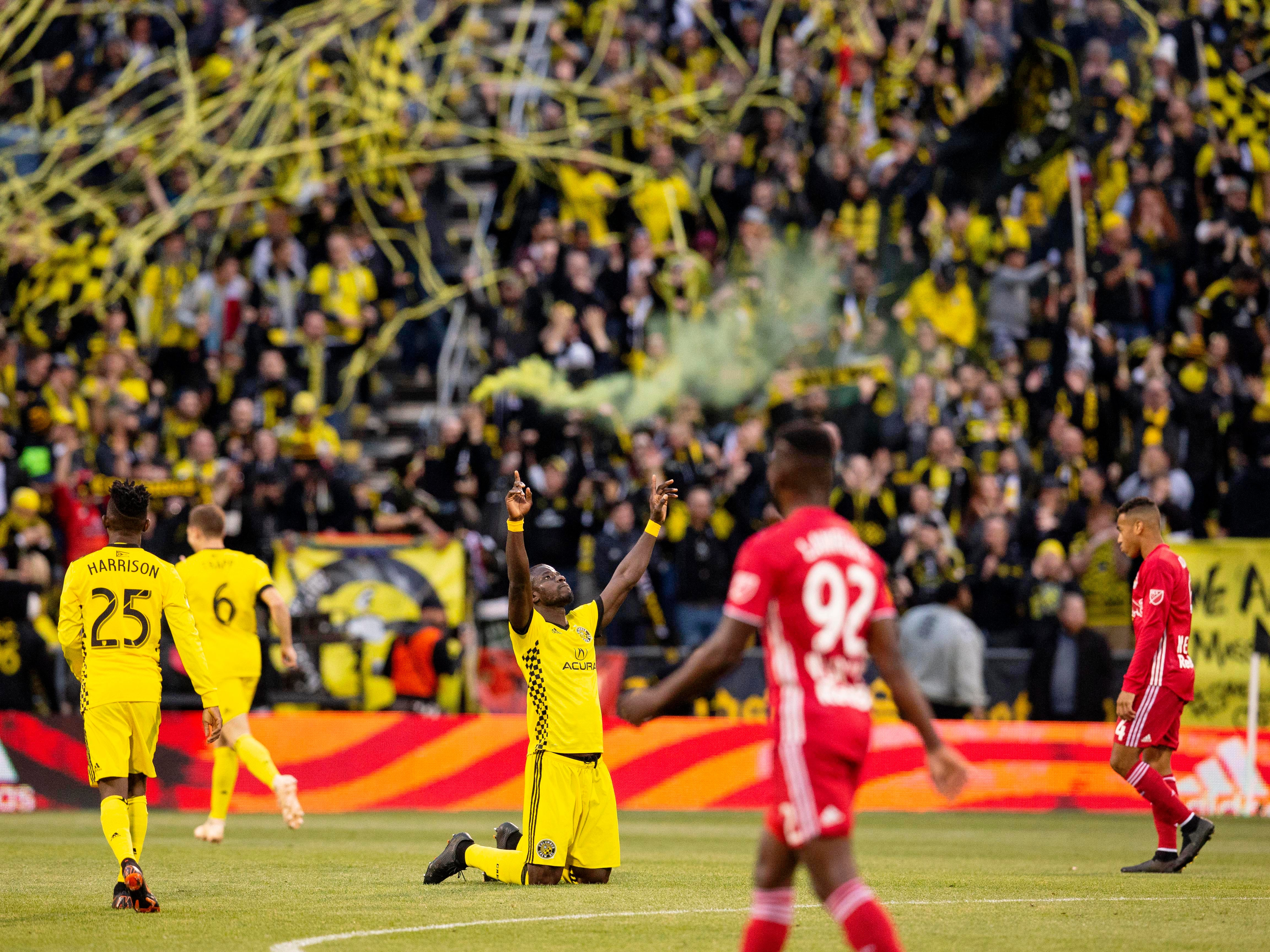 Columbus Crew SC defender Jonathan Mensah (4) reacts after a 1-0 win over the New York Red Bulls at Mapfre Stadium.