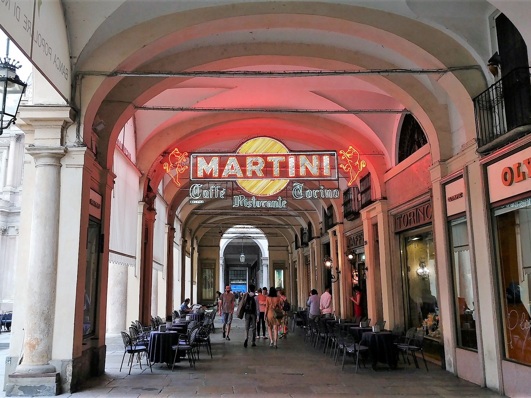 """""""The company was born in Torino,"""" Fanciotto says. It retains a strong presence throughout the city, and to walk through Turin is to experience a living history of aperitivo culture. Visitors can count on a well-made example at an establishment with this type of signage, such as the Caffe' Torino along the Piazza San Carlo Torino."""