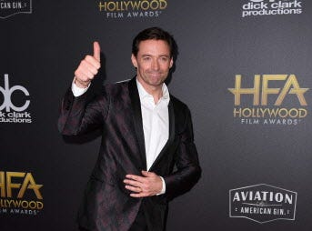 Hollywood Actor Award recipient Hugh Jackman arrives for the 22nd Annual Hollywood Film Awards at the Beverly Hilton hotel in Beverly Hills on November 4, 2018. (Photo by Mark RALSTON / AFP)MARK RALSTON/AFP/Getty Images ORG XMIT: 22nd Annu ORIG FILE ID: AFP_1AK84Z