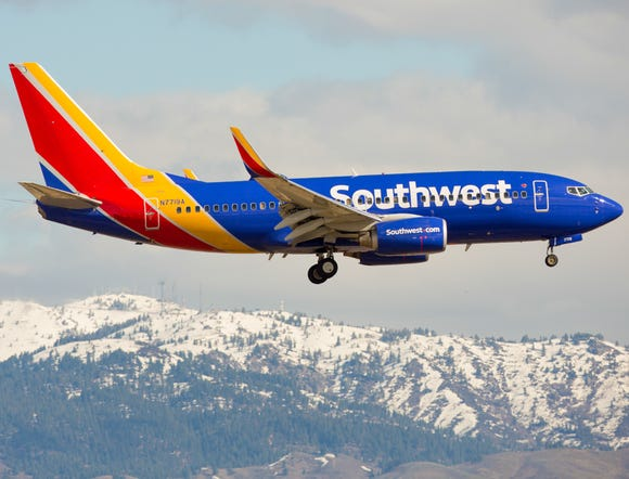 A Southwest Airlines Boeing 737 lands at Boise Airport on March 12, 2016.