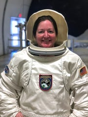 Katharine Lackey is suited up for a space walk mission on Oct. 24, 2018, at Space Camp in Huntsville, Alabama.