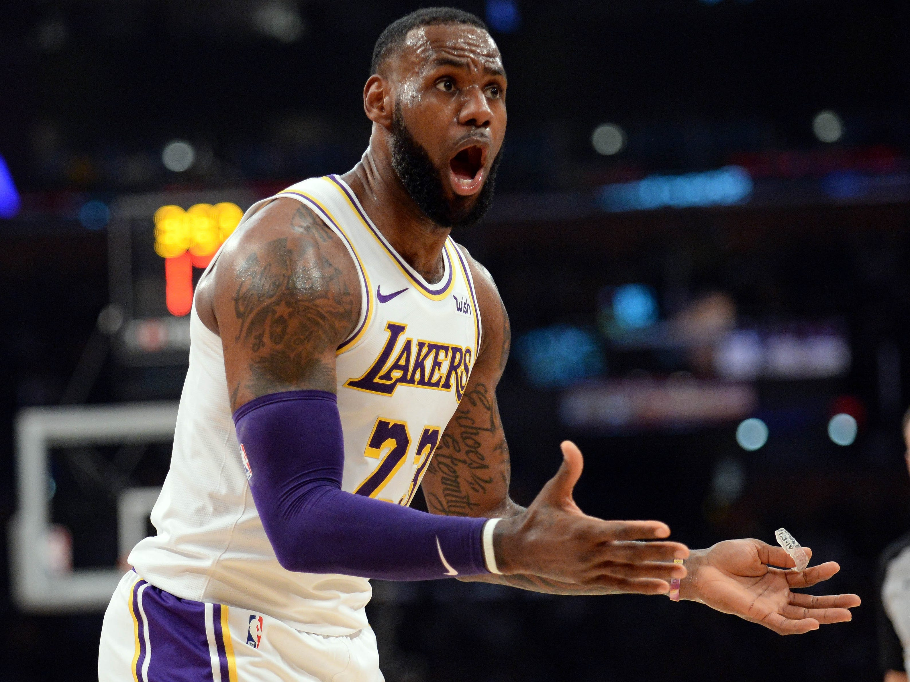 Nov. 4, 2018: James couldn't believe the first-half call and later couldn't believe the final result as the Lakers suffered an embarrassing home loss to the Raptors.