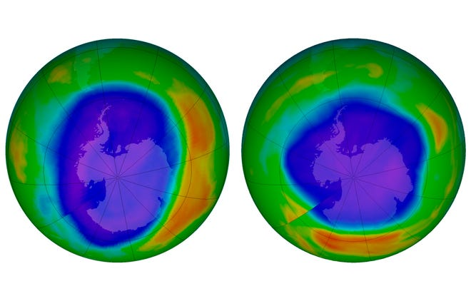 A pair of images show areas of low ozone above Antarctica on September 2000, left, and September 2018. The purple and blue colors are where there is the least ozone, and the yellows and reds are where there is more ozone. A United Nations report released on Nov. 5, 2018 says Earth's protective ozone layer is finally healing after aerosol sprays and coolants ate away at it.