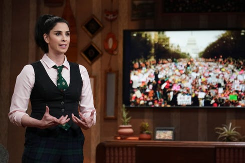 "Sarah Silverman gives monologues with her personal political beliefs and also reaches out to those with opposite views on her Hulu show ""I Love You, America."""