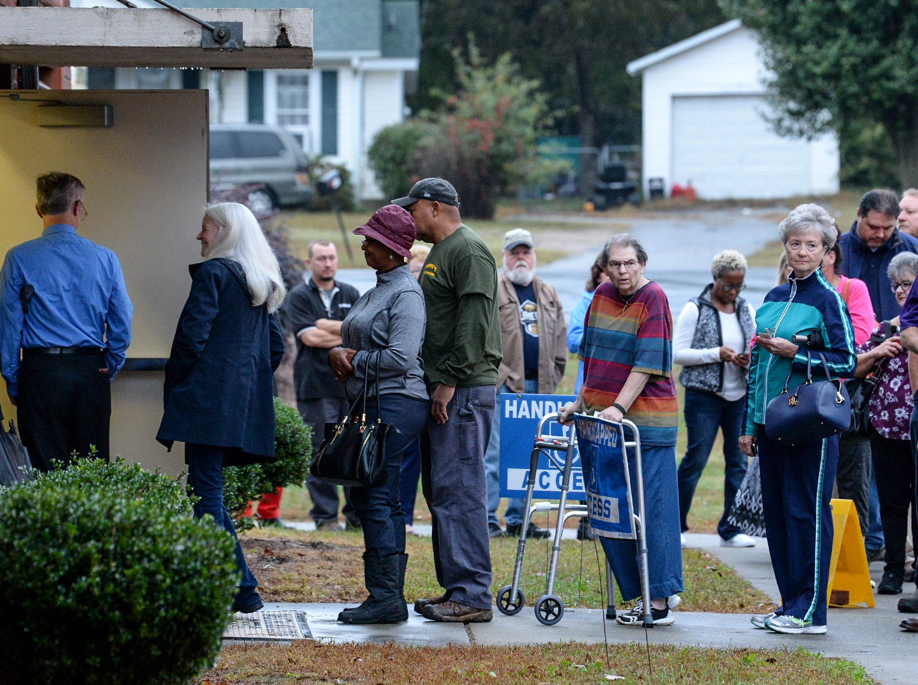 People line up at Centerville precinct during election voting in Anderson County on Tuesday, November 6, 2018.