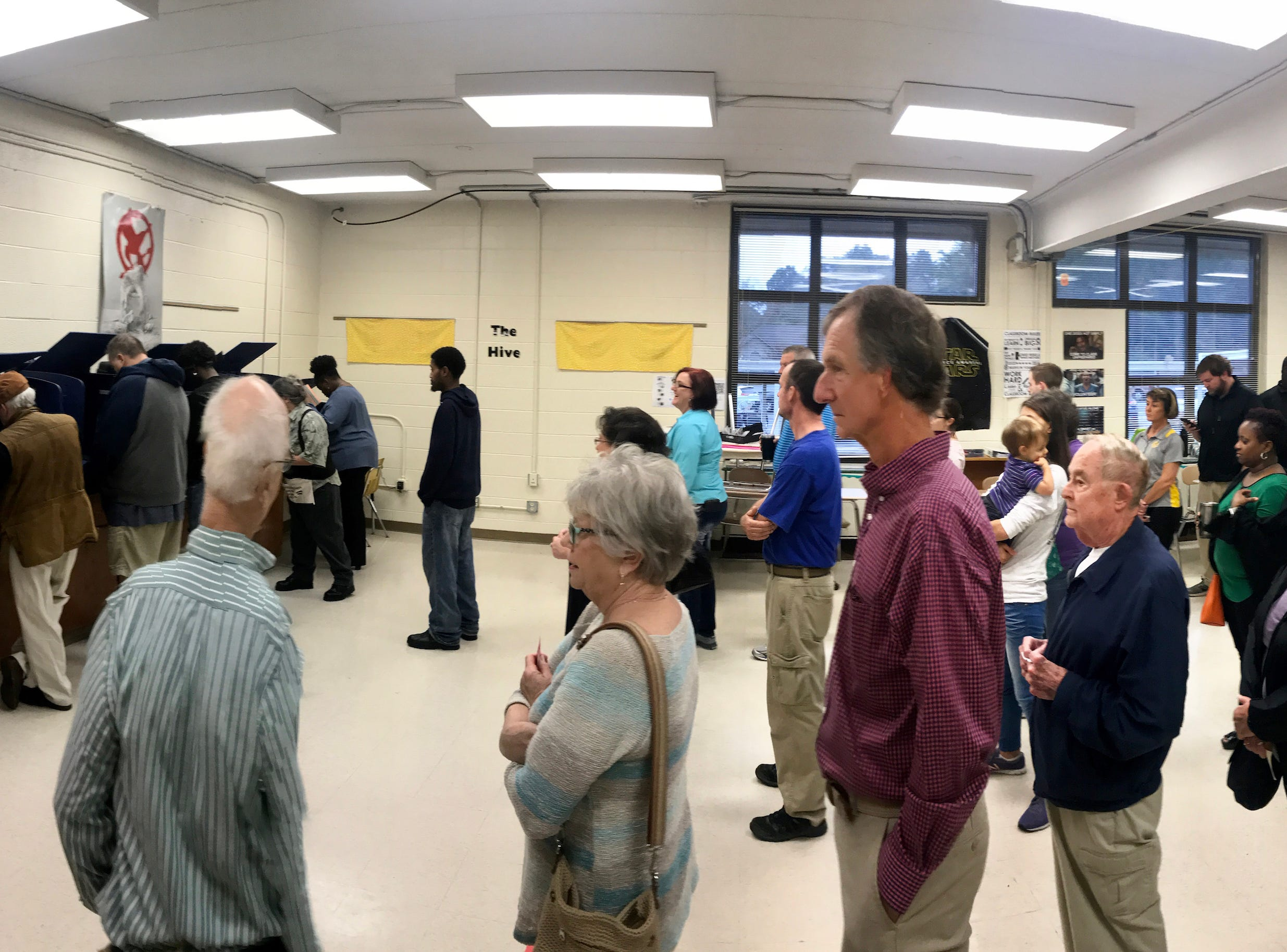 Voters lineup in McCants precinct in Anderson County on Tuesday, Nov. 6, 2018.