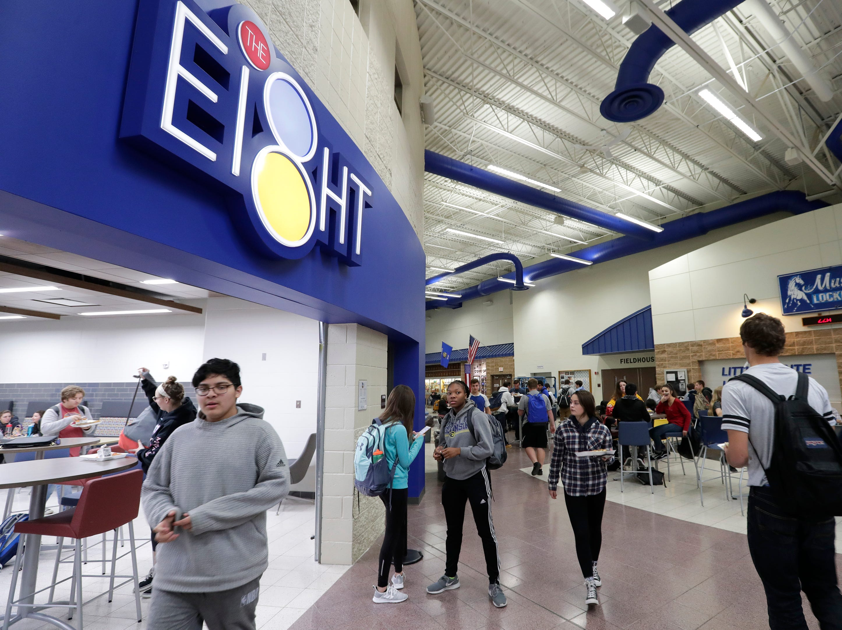 Students hang out in the dining area of Little Chute High School Tuesday, November 6, 2018, in Little Chute, Wis. Dan Powers/USA TODAY NETWORK-Wisconsin