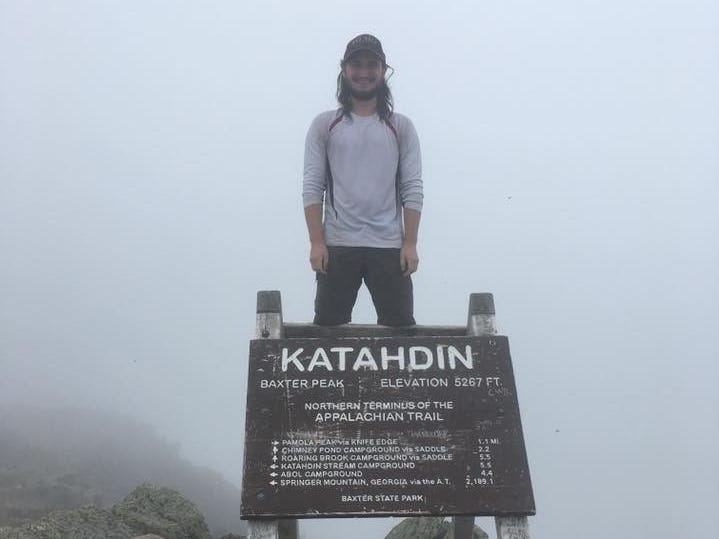 "Zach Jones, of Appleton, on this view from the Appalachian Trail: ""The northern terminus of the Appalachian Trail is on Katahdin in Maine, considered by most to be the most formidable mountain on the whole trail. This picture was taken on my first day on trail. Unfortunately there was no view as it was very cloudy."""