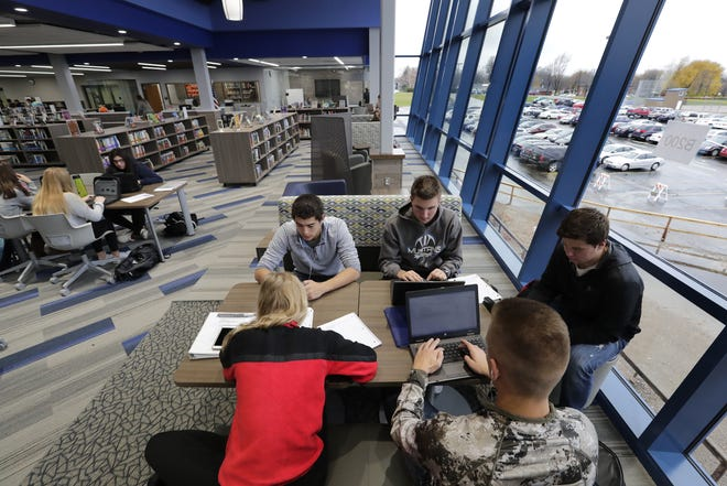 Students participate in a study session Tuesday in the new library at Little Chute High School. The library was part of the nearly $18 million in renovations at the school following a 2017 school referendum in the Little Chute Area School District. An open house is set for Saturday.
