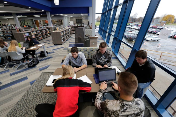A group of senior students study in the new library at Little Chute High School Tuesday, November 6, 2018, in Little Chute, Wis. Dan Powers/USA TODAY NETWORK-Wisconsin