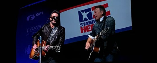 Eric Church and Bruce Springsteen at the Stand Up for Heroes veterans benefit, Monday, Nov. 6 at Hulu Theatre inside Madison Square Garden in New York City.