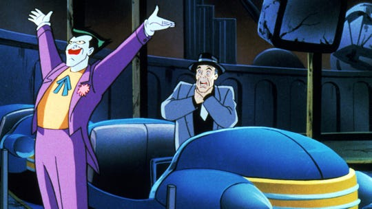 "The Joker (voiced by Mark Hamill), left, in ""Batman: Mask of the Phantasm."""
