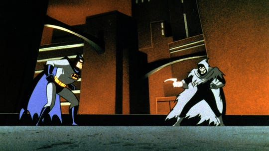 "Batman (voiced by Kevin Conroy), left, and the Phantasm in ""Batman: Mask of the Phantasm."""