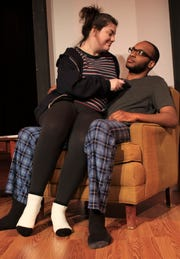 "Sarah (Madison Murgia), left, and Bill (Dom Gordon) share a moment in a rehearsal scene from Hardin-Simmons University's 'Love/Sick,"" a student-directed production."