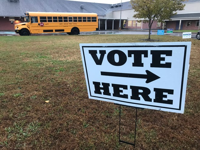 A sign directing voters to the polls on Election Day, Tuesday, Nov. 6, 2018, at Emma Elementary School in western Buncombe County.