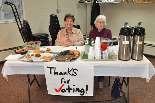 Penny Walkinshaw (left) and Nona Spangler welcome voters at the cookies and coffee station at Chapel Hill United Methodist Church on Tuesday, Nov. 6, 2018.