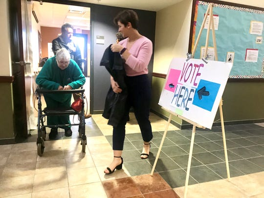 Keitha Wise, in her 80s, and Phoebe Holland, 20, an Ithaca College student, after casting their ballots on Nov. 6, 2018.