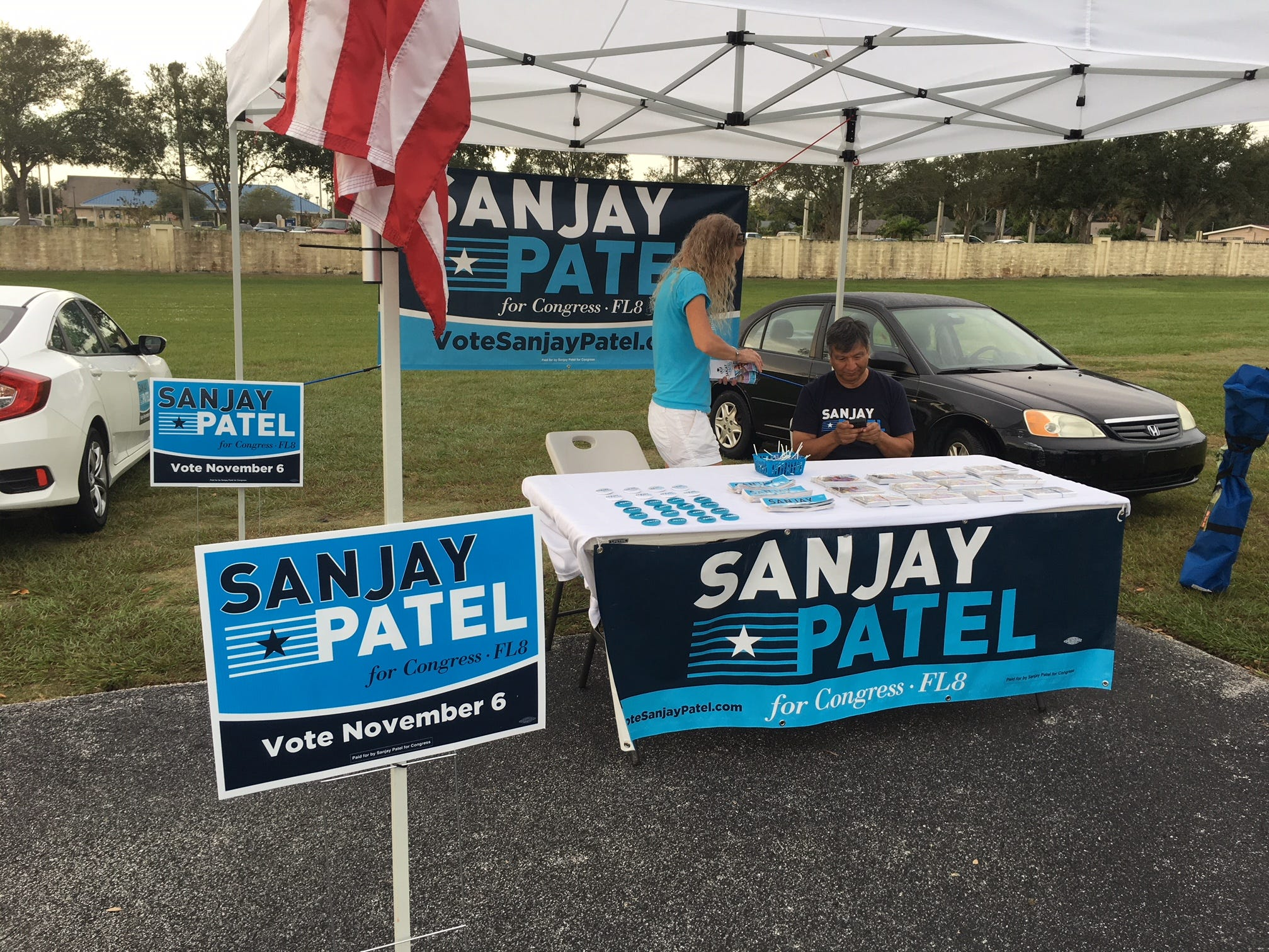 Candidate Sanjay Patel had an informational table at the River of Life Church in Merritt Island Nov. 6, 2018.