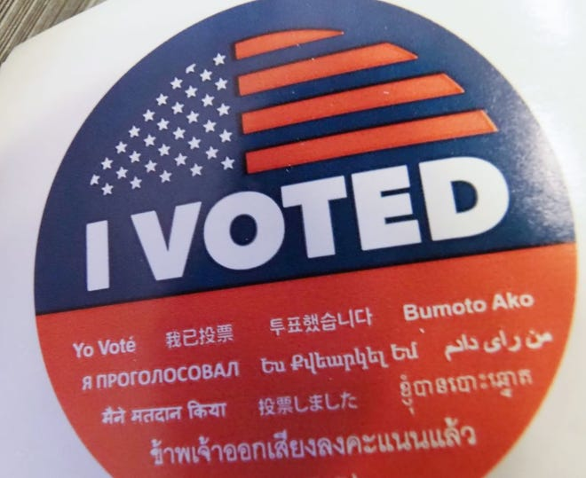 """An """"I Voted"""" sticker in seen during early voting for the mid-term elections at a public library in the Lake View Terrace neighborhood of Los Angeles, California on November 4, 2018."""