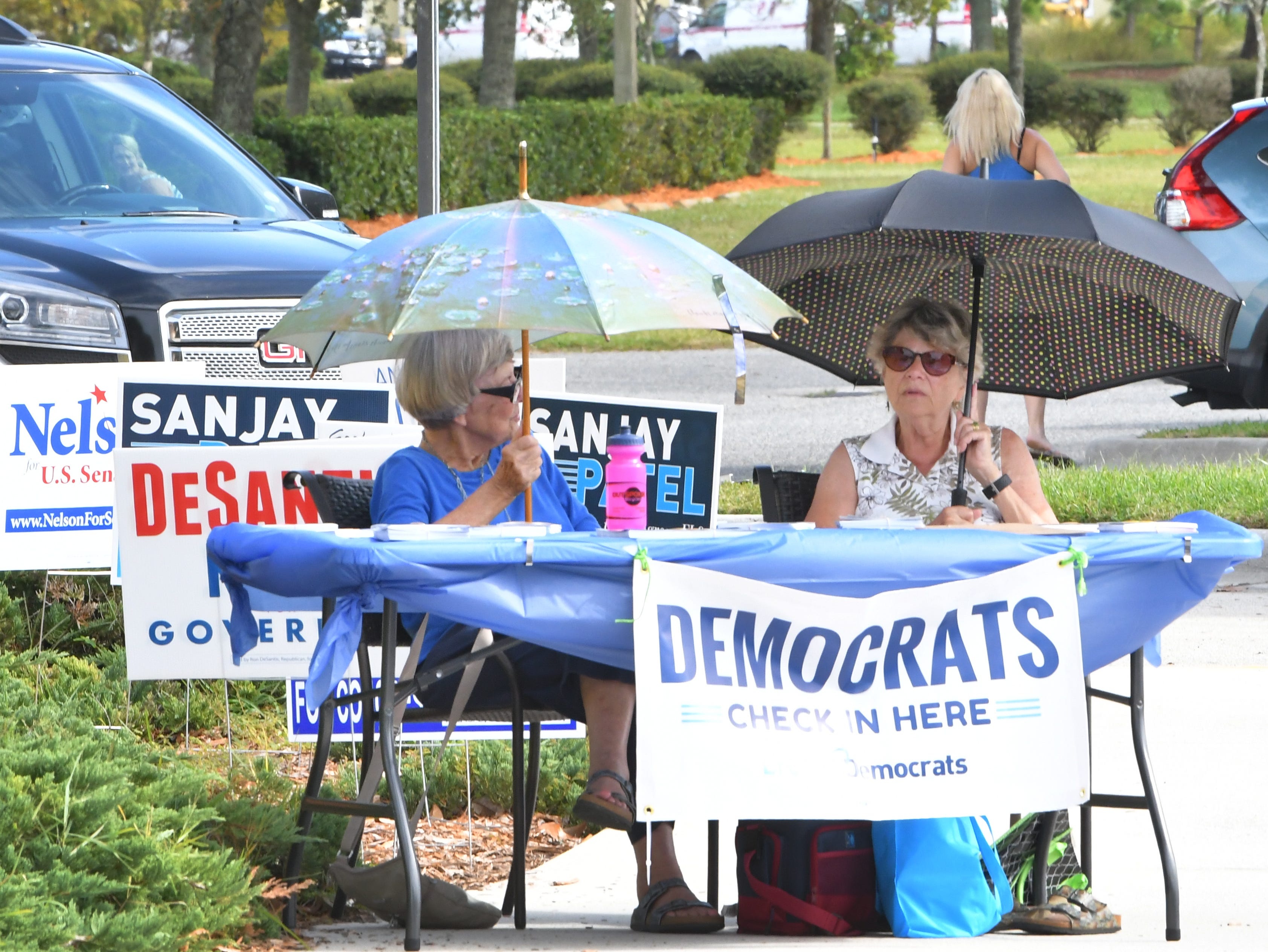 Barbara Kurtz and Harriet Boggi at the Democratic party table. Election Day Tuesday scenes at the Church at Viera, where several precincts were located.
