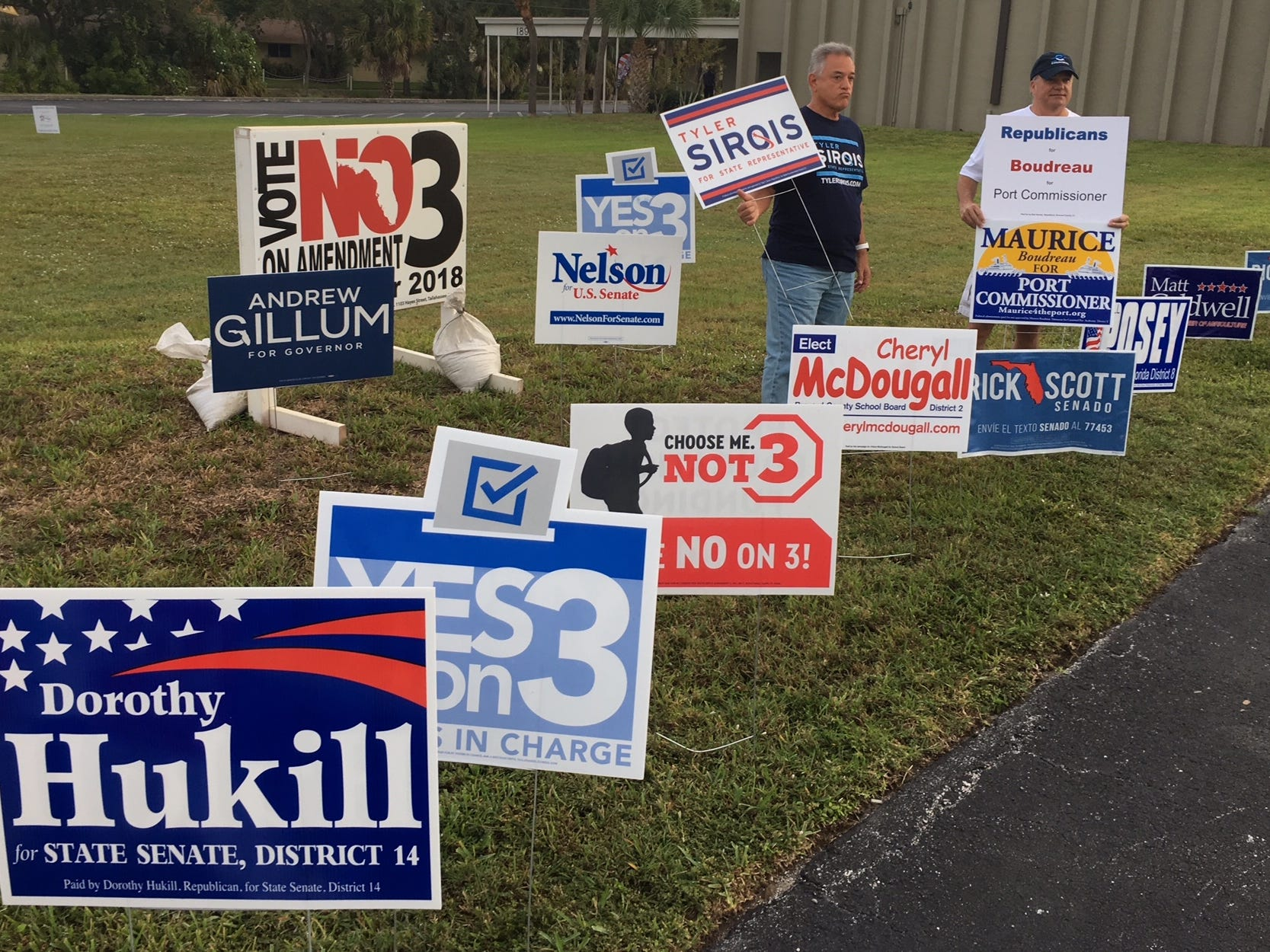 Political signs greeted voters heading to vote at the River of Life Church in Merritt Island Nov. 6,2018.