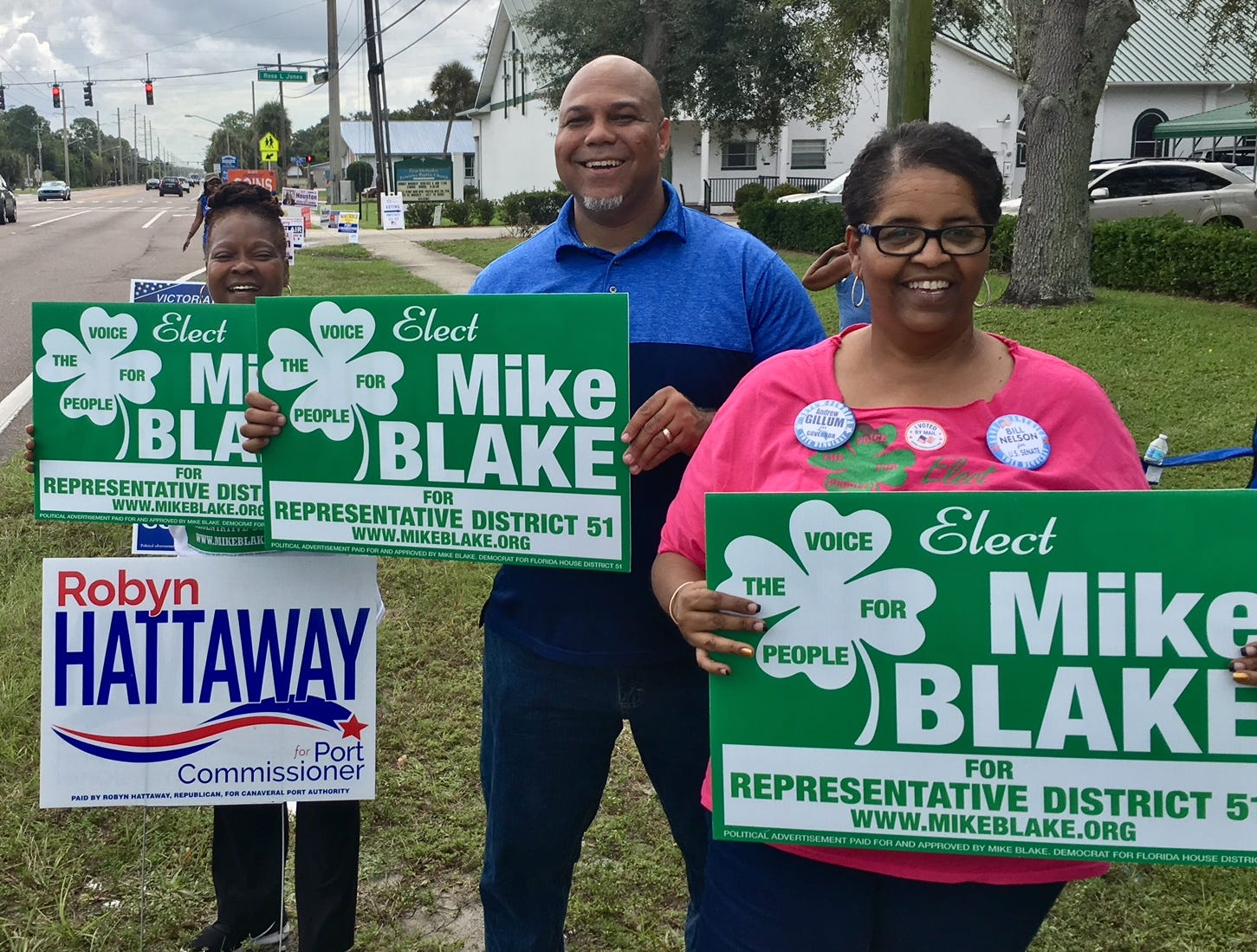Donna Stokes, Mark Blake and Tammy Findlay-Bell campaigning for Mike Blake at Zion Orthodox Primitive Baptist Church in Cocoa.
