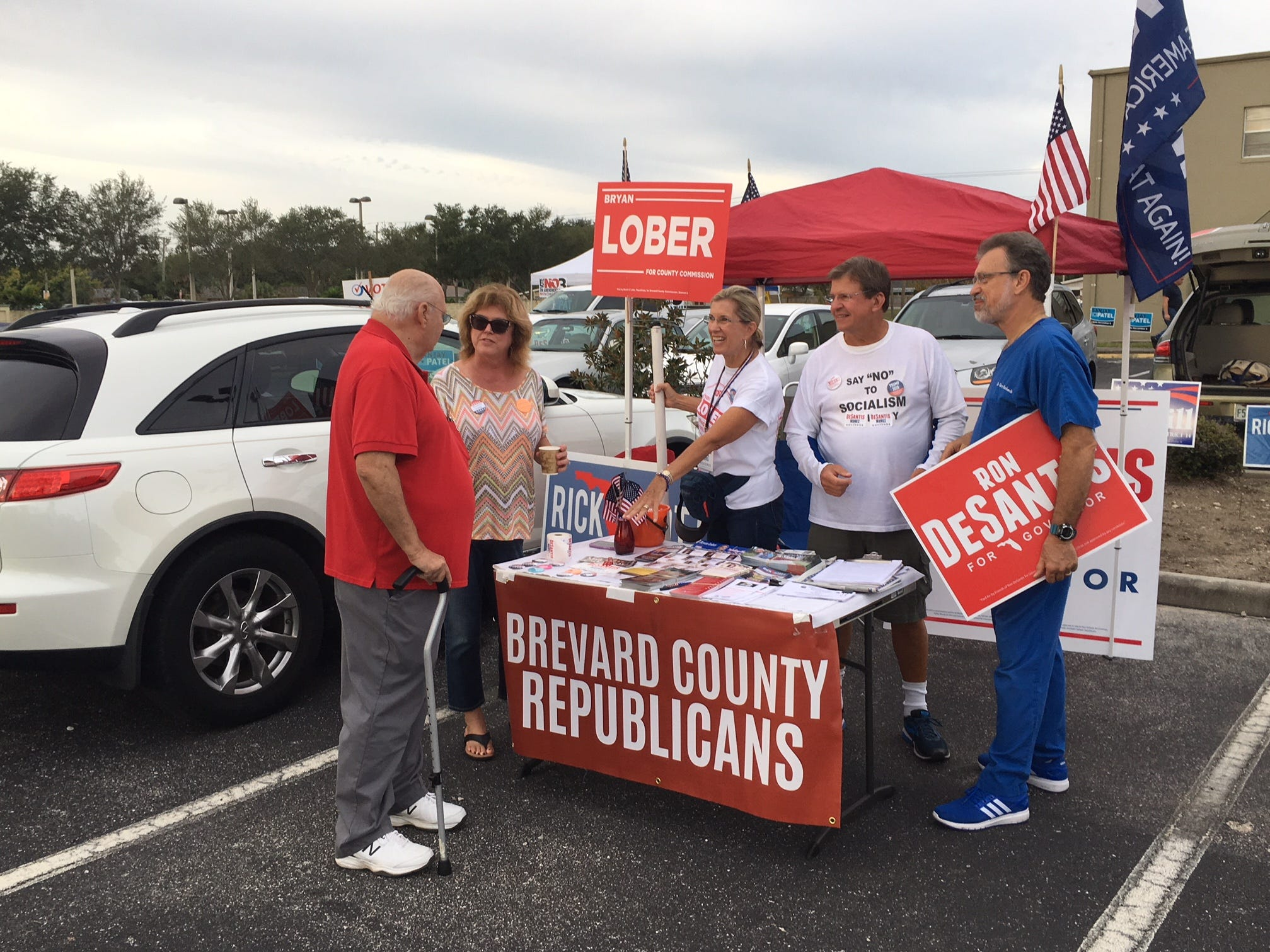 Republican table at the River of Life Church in Merritt Island for the midterm election Nov. 6, 2018.