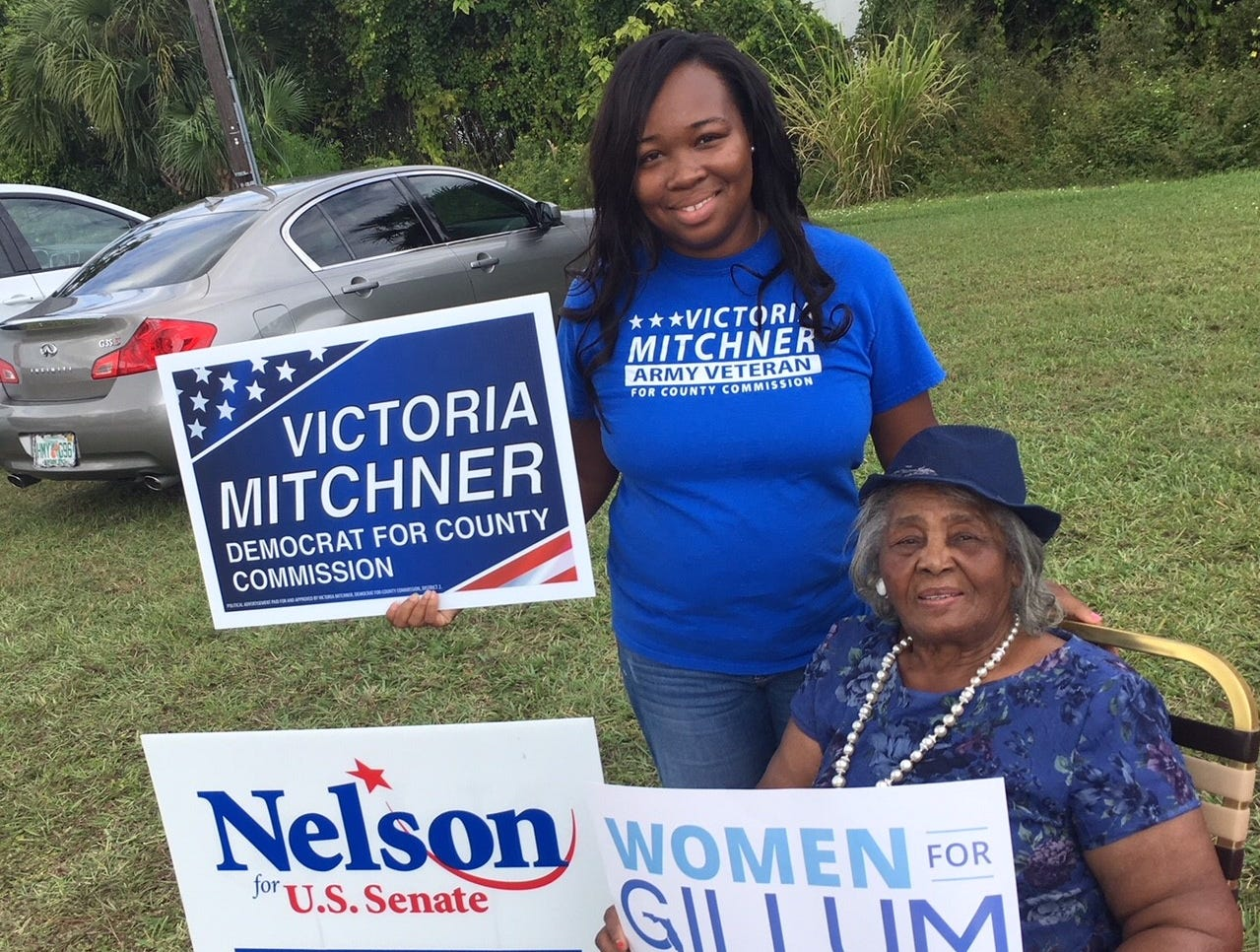 Victoria Mitchner campaigning at Hope United Church of Christ in Rockledge  With Jewel Collins.