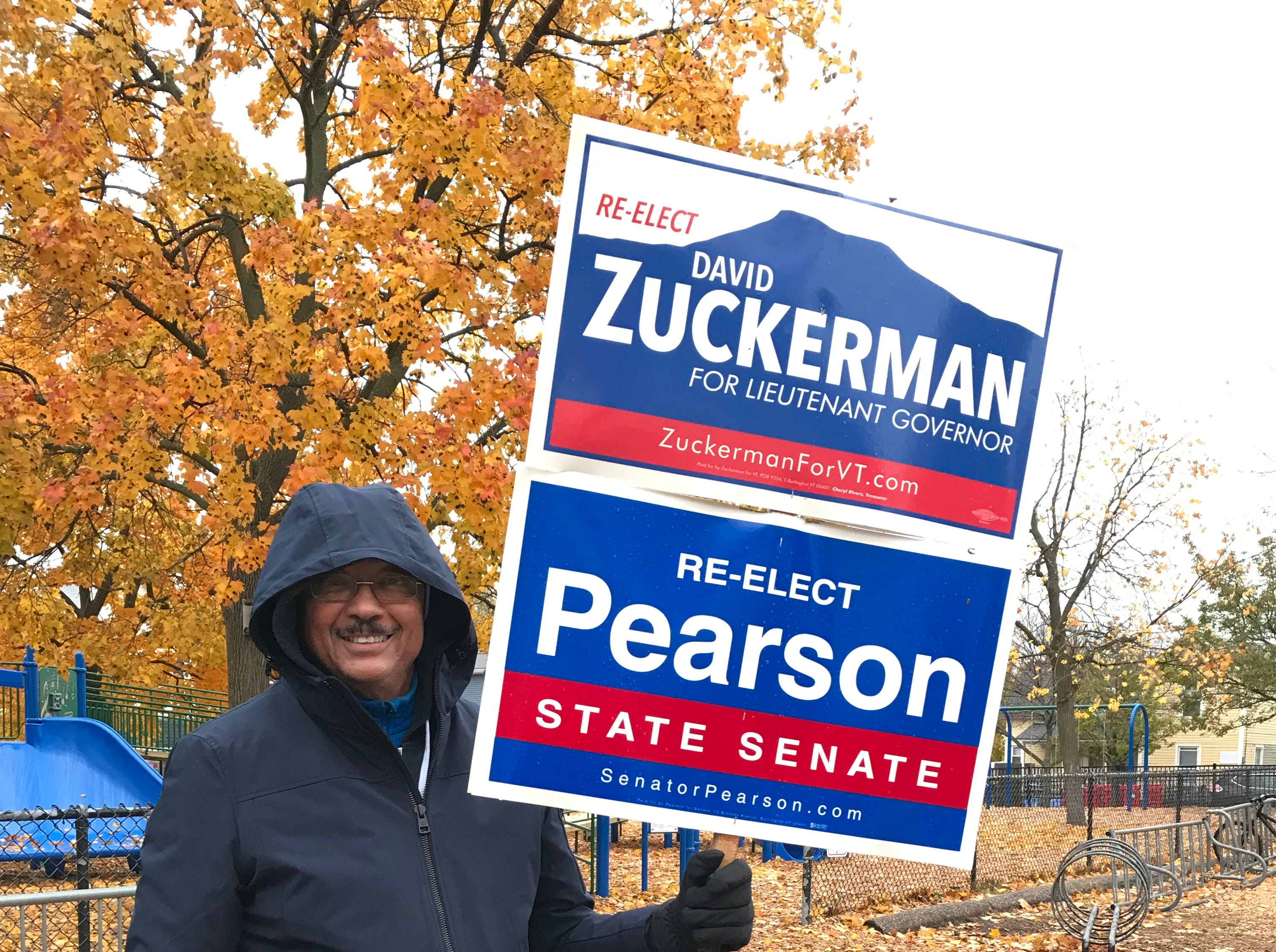 Bill Boyd supports his candidates at the Sustainability Academy at Lawrence Barnes in Burlington's Old North End neighborhood on Election Day, Nov. 6, 2018.