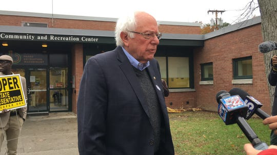 Sen. Bernie Sanders speaks to members of the media outside his Burlington Ward 7 polling station at the Robert Miller Community and Recreation Center on Tuesday, Nov. 6, 2018.