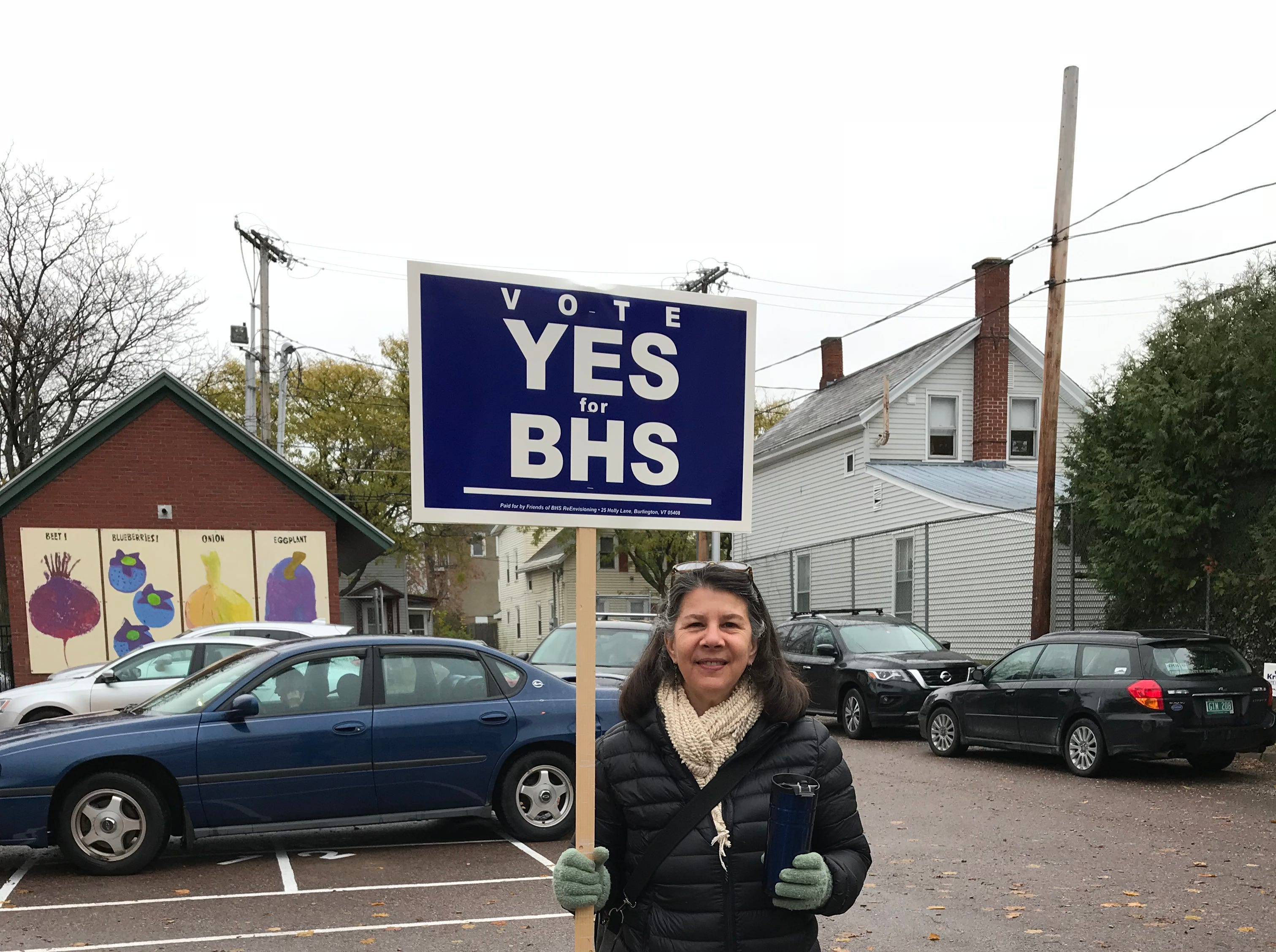 School Board member Liz Curry seen at the Sustainability Academy at Lawrence Barnes in Burlington's Old North End neighborhood on Election Day, Nov. 6, 2018.
